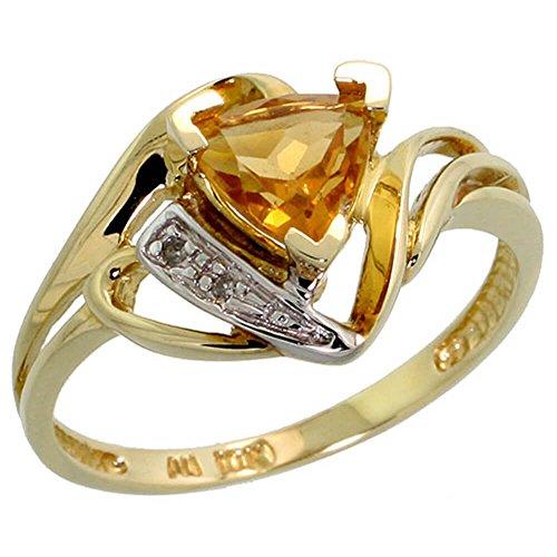 10 Karat Gold Trillion Ring mit Brillantschliff Diamanten und Trillantschliff November Geburtsstein 6 mm Citrin Stein,(11 mm) breit