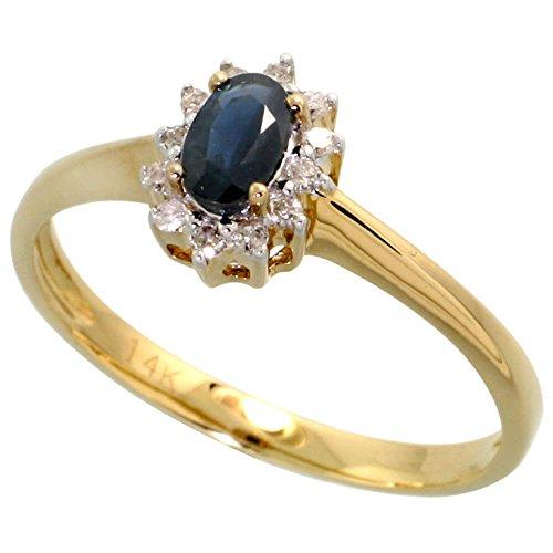 14 Karat Gold ovaler Cluster Ring mit 0.12 Karat Brillantschliff Diamanten und 0.33 Karat Ovalschliff blauem Saphir Stein,(8 mm) breit