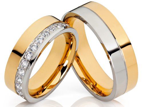 2 Hochzeitsringe Trauringe Eheringe Verlobungsringe Bicolor m. 24 Zirkonia im Damenring & gratis Gravur aus Edelstahl