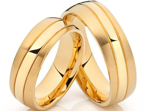 2 Hochzeitsringe Trauringe Eheringe Verlobungsringe vergoldet 18 Karat