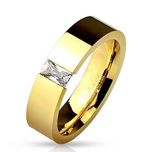 Bungsa® 54 (17.2) Ring gold mit rechteckigem Kristall Stein (Edelstahl Damen Fingerring Partnerringe Verlobungsringe Trauringe Damenring Edelstahlring Chirurgenstahl)