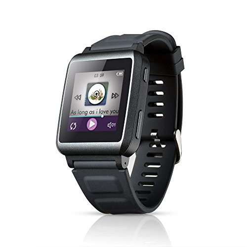 AGPTek W1 16GB 1.5 Zoll Touchscreen Bluetooth MP3 Player Musik Uhr Smartwatch mit Bluetooth, Grau