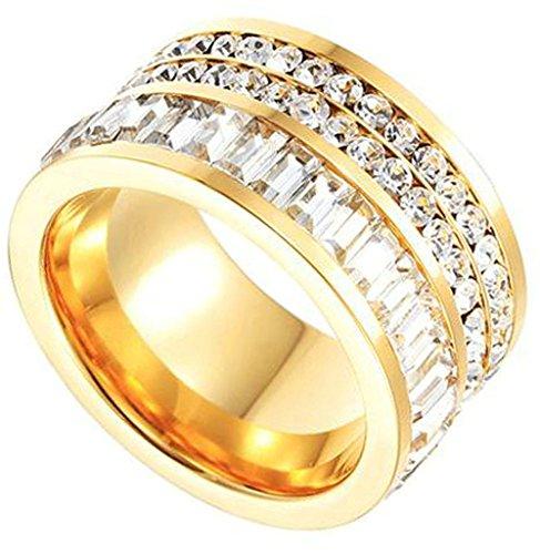 AMDXD Damen-Ringe 18K Vergoldet Runde Zirkonia Mit Gold Farbe Ringe Gr.57 (18.1)