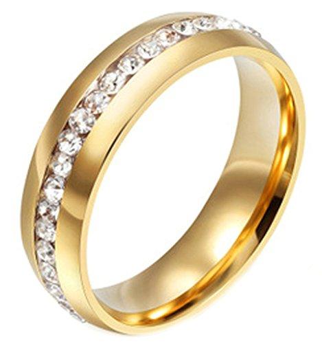 AMDXD Schmuck 18K Vergoldet Gold Damen Ringe Zirkonia Elegante Polished Hochzeit Ringe Größe 54 (17.2)