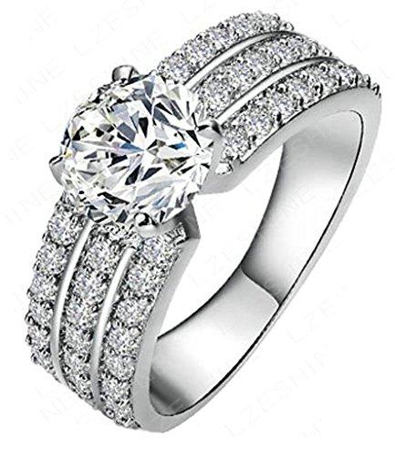 AMDXD Schmuck Damen Ringe 18K Weiß Gold Vergoldet Ring 3 Reihe Zirkonia mit Österreich Kristall Silber Ringe