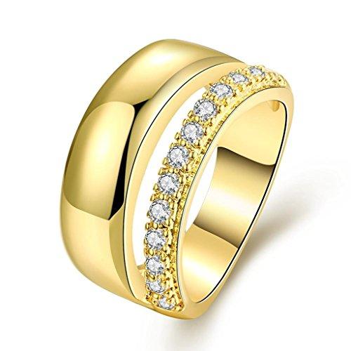 amdxd vergoldet Frauen Ringe gold Full Of CZ Größe P 1/2