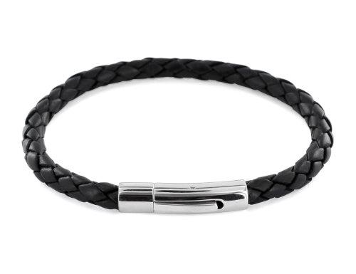 AURORIS Echtleder-Armband geflochten 5mm mit Hebeldruckverschluss aus Edelstahl - Länge: 20cm / Farbe: schwarz