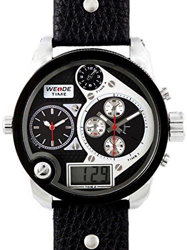 Alienwork DualTime Analog-Digital Armbanduhr Multi-funktion LCD Uhr XXL Oversized schwarz Leder OS.WH-2305-3