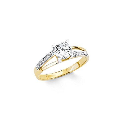 Amor Damen-Ring bicolor 333 Gelbgold teilrhodiniert Zirkonia weiß Gr. 52 (16.6) - 501996