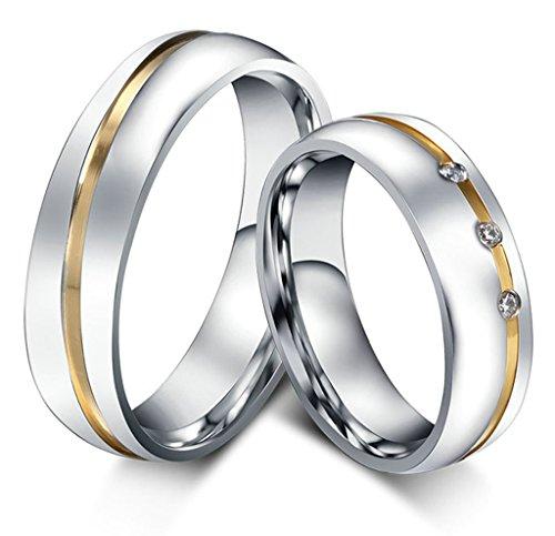 -Schmuck-Paar-Eheringe-aus-Edelstahl-mit-3-Zirkonia-Verlobungsringe ...