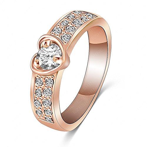 AnaZoz Schmuck Ring Romantische 18K Rose Gold Überzog mit Herz Kristall Ehering