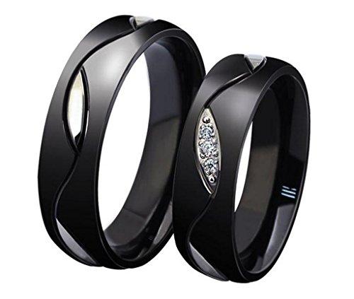 AnaZoz Schmuck Titan Hochzeit Ring 18K Vetgoldet Blatt Muster von Breite 6mm Schwarz für Frauen US Größe 6