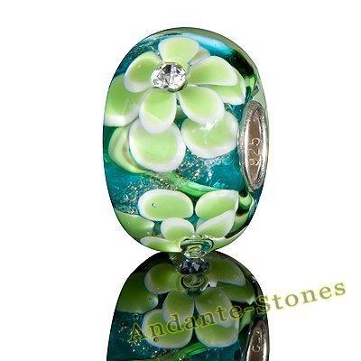 Andante-Stones 925 Sterling Silber Glas Bead SEALIFE (Türkis mit hellgrünen Blumen und Zirkonia) Element Kugel für European Beads + Organzasäckchen