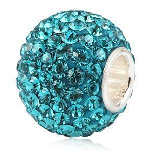 Andante-Stones 925 Sterling Silber Kristall Glitzer Bead (Dunkel Türkis) als Kettenanhänger oder Element für Bettelarmbänder + Organzasäckchen