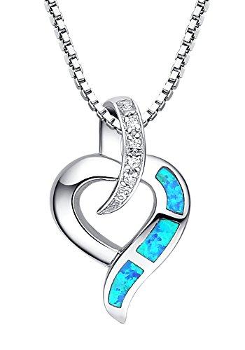 Arco Iris Schmuck Damen-Halskette Herz-mit Anhänger Sterling Silber mit Blauer Opal 45 cm