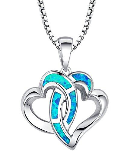 Arco Iris Schmuck Damen-Halskette Herz-mit Anhänger Sterling Silber mit Blauer Opal 45cm