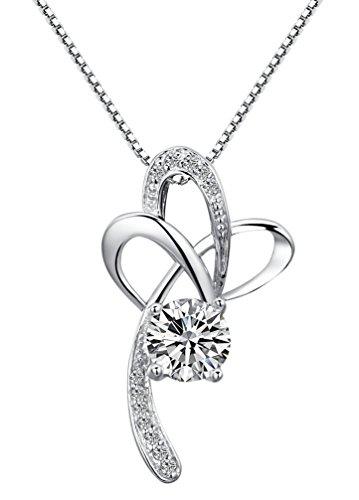 Arco Iris Schmuck Damen-Halskette mit Anhänger Blume Kreuz Sterling Silber mit Zirkonia 45 cm