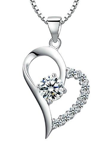 Arco Iris Schmuck Sterling Silber Herz und Zirkonia Anhänger Halskette für Damen mit Italienisch Kette Box 45cm - SP031n1
