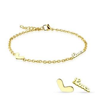 Armband Love Charm Liebe Edelstahl gold beschichtet (Edelstahl Armband Damenarmband Herrenarmband Bracelet Chirurgenstahl Schmuck Edelstahlarmband)
