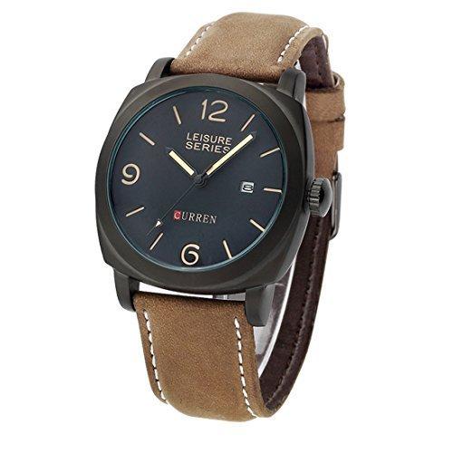 Armbanduhren, iTECHOR Curren 8158 Herren Analog Quarz Nubuk-Leder-Band-Armbanduhr mit Datumsfunktion - Schwarz + BrownBrown