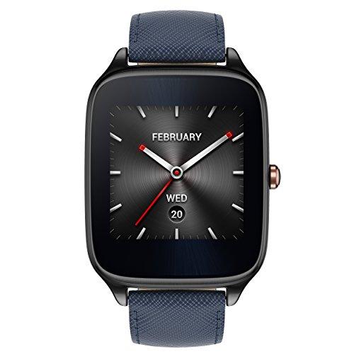 Asus Zenwatch 2 WI501Q 4,1 cm (1,63 Zoll) (Qualcomm Snapdragon, 320 x 320 pixels, Android, AMOLED, 4GB, Lederarmband) titangrau/blau