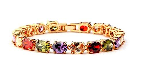 Atemberaubende AAA mehrfarbige österreichische Zirkonia Kristall Armreif Frauen Armband 18K vergoldet Lieferung in wunderschöner Schmuck Geschenk-Box