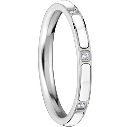 Bering Damen-Ring InnenRing Edelstahl Keramik Zirkonia transparent Gr. 56 (17.8) - 503-15-81