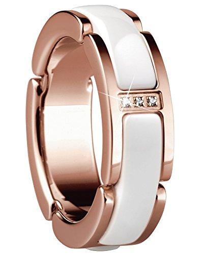 Bering Time Schmuck Edelstahl gold rosé Ceramic weiß Ring Fingerring 502-35, Ringgröße:60 (19.1 mm Ø)