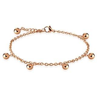 Bettelarmband Anhänger rosegold Beads & Charms Edelstahl für Damen (Edelstahl Armband Damenarmband Herrenarmband Bracelet Chirurgenstahl Schmuck Edelstahlarmband)