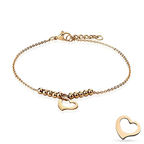 Bettelarmband Herz & Kugeln roségold Edelstahl für Damen (Edelstahl Armband Damenarmband Herrenarmband Bracelet Chirurgenstahl Schmuck rosé Beads)