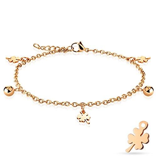 Bettelarmband Kleeblatt & Ball roségold Edelstahl für Damen (Edelstahl Armband Damenarmband Herrenarmband Bracelet Chirurgenstahl Schmuck)
