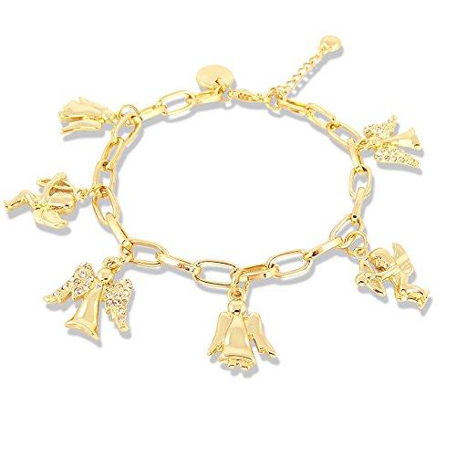 Bettelarmband Schutzengel mit Kristallen von Swarovski® Weiß - Farbe Gold Crystal - Etui