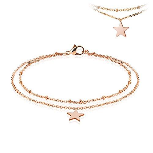 Bettelarmband Stern roségold Edelstahl für Damen (Edelstahl Armband Damenarmband Herrenarmband Bracelet Chirurgenstahl Schmuck)