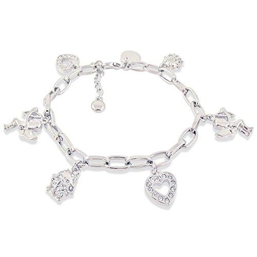 Bettelarmband mit Kristallen von Swarovski® - Farbe Silber Crystal - Etui