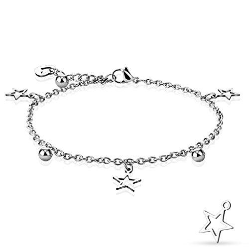 Bettelarmband silber mit Stern, Herz und Kugel Edelstahl (Bettelkette Armband Damenarmband Herrenarmband Bracelet Chirurgenstahl Schmuck Edelstahlarmband)