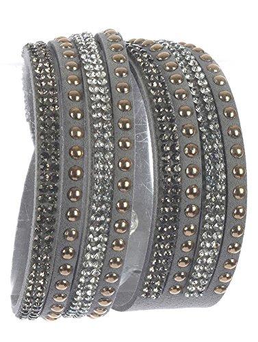 Beyoutifulthings Damen Armband aus Kunstleder grau besetzt mit Nieten und Zirkonia Länge: 36cm