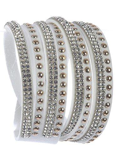 Beyoutifulthings Damen Armband aus Kunstleder weiß besetzt mit Nieten und Zirkonia Länge: 36cm