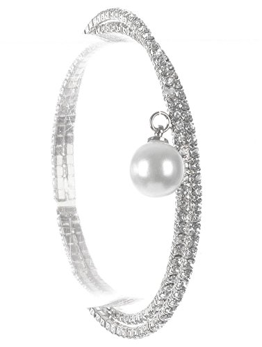 Beyoutifulthings Damen Edelstahl Armband besetzt mit Zirkonia und hängender Perle Durchmesser: 5.4cm