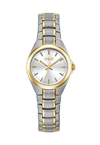 CHRIST times Damen-Armbanduhr Analog Quarz One Size, silber, bicolor/silber