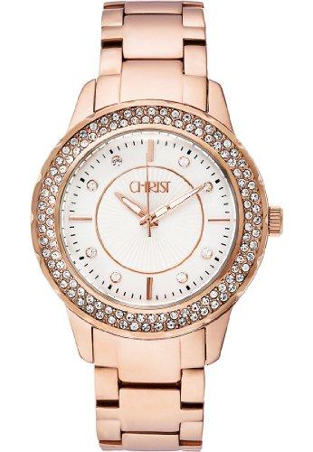 CHRIST times Damen-Armbanduhr Analog Quarz One Size, silber, rosé/silber