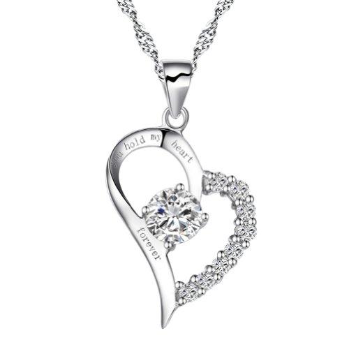 "Chaomingzhen Zirkonia 925 Sterling Silber ""You Hold My Heart Forever"" Herz Anhänger Halskette Damen"