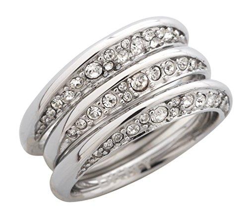 DKNY Damen 3 teiliger Fingerring Edelstahl Silber NJ1853040, Ringgroesse:50 (15.9)