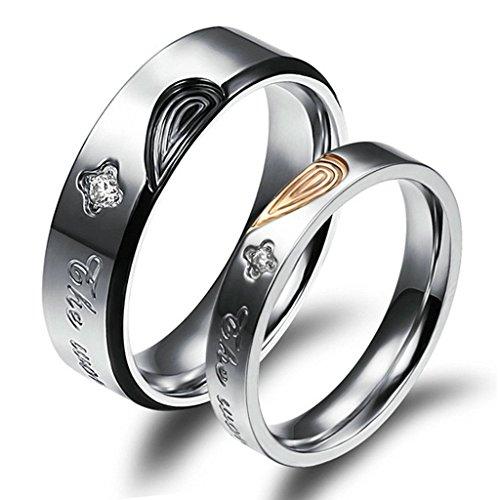 Daesar Edelstahl Trauringe Für Herren Damen Herz Puzzle Fingerabdruck Liebe Prongs mit CZ Intarsien Ring Größe 62 (19.7)