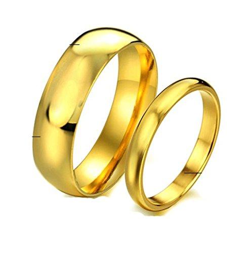 Daesar Frauen Edelstahl Hoch Poliert Gold Ringe für Verlobungsringe & Engagement Ringe größe 57 (18.1)