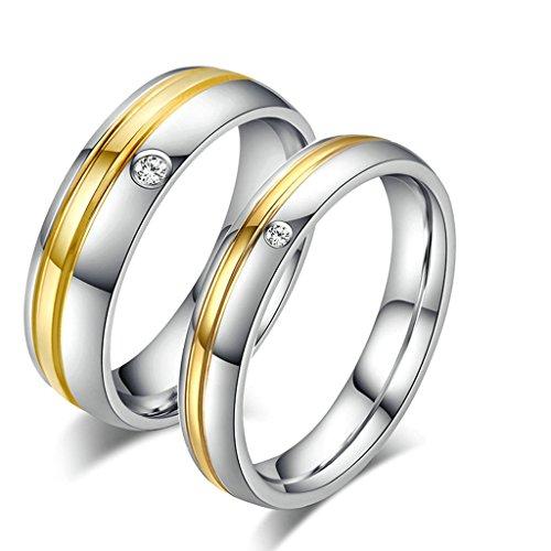 Daesar Frauen Verlobungsringe Edelstahl Ring Für Paar Ring Silber Gold Ring Zirkonia Mit Geschenk-Box Größe 57 (18.1)