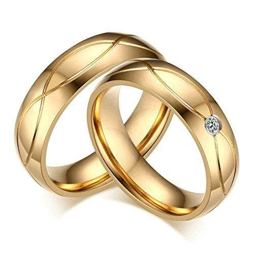 Daesar Frauen Verlobungsringe Edelstahl Ring Für Paar Silber Gold Welle Unendlichkeit Ring Zirkonia Größe 52 (16.6)