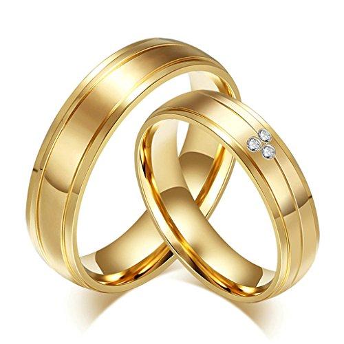 Daesar Frauen Verlobungsringe Edelstahl Ring Gold Zirkonia Ring Für Paar Mit Geschenk-Box Größe 60 (19.1)
