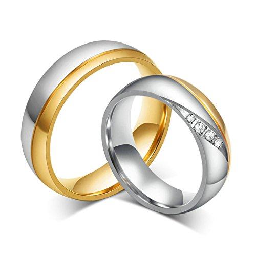 Daesar Frauen Verlobungsringe Edelstahl Ring Silber Gold Ringe Für Paar Mit Geschenk-Box Größe 60 (19.1)