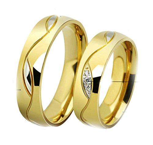 Daesar Frauen Verlobungsringe Edelstahl Ringe Gold Zirkonia Für Hochzeit Mit Geschenk-Box Größe 52 (16.6)