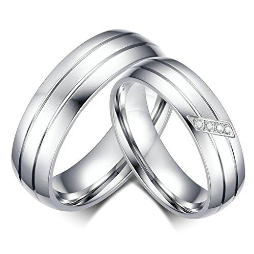 Daesar Frauen Verlobungsringe Edelstahl Ringe Silber Zirkonia Für Hochzeit Mit Geschenk-Box Größe 54 (17.2)